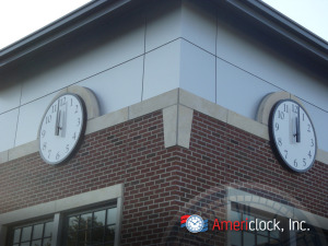 Canister clocks installed on a wall example