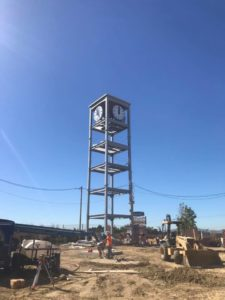 New RF transparent cell phone clock tower under construction