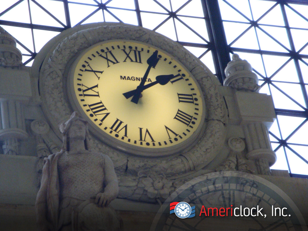 Custom clock projects photo gallery americlock 6 foot glass clock at union station clock in washington dc amipublicfo Images