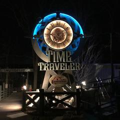 Nighttime view of illuminated clock with RGB LED lighting