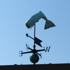 3D diving whale on top of the Whaling museum on Nantucket Island MA