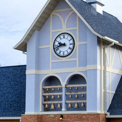 New Glarus Brewing Company bell tower with 18 cast bronze bells and two clocks, New Glarus, WI