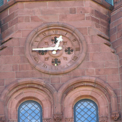 Smithsonian Institution Washington DC Castle clock tower with gold leaf clock hands