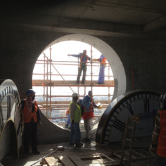 Installting the clocks inside the tower at ASU clock tower, Bahrain