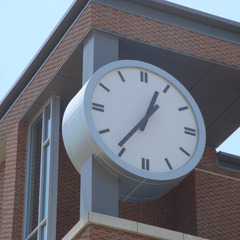 Unique clock on top of the city hall and train station in Normal IL. 10 foot diameter