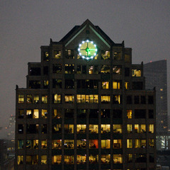 Highrise building clock in Boston MA with LED lights