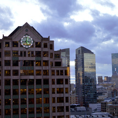 101 Arch Street Boston MA clock with green and white LED lights
