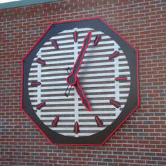 Clarksville IN firestation clock with raised red Rope Neon LED lights