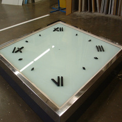 Custom glass and stainless steel clock