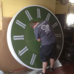 Putting the finishing touches on a 2 meter clock for Saudi Arabia KSA