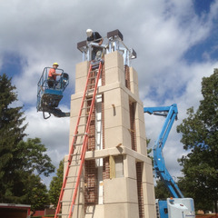 Wesleyan College clock tower installation, Rochester NY