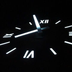 Airport clock at night with LED lights