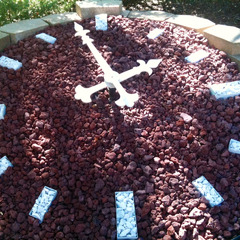 Floral clock with decorative stone, private residence, Santa Barabra CA