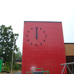 Elementary school exterior tower clock on custom clock tower, Anderson SC
