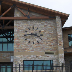 State Farm insurance pool clock markers on wall, Bloomington IL