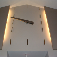 Custom modern lobby clock with side lighting, Phoenix AZ