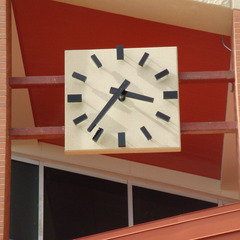 Wester State College auditorium clock with LED lights inside clock hands and numbers, Gunnison CO
