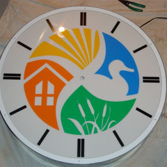 Los Banos city hall clock with custom logo
