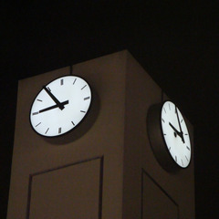 Miami FL custom clock with lights at night
