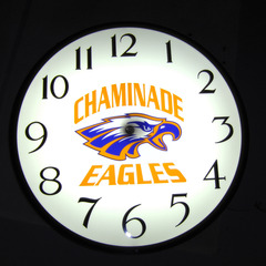 Chaminade clock night time lighting