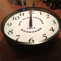Canister clock with coverglass for elementary school clock tower, Tama IA