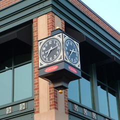 Four sided street clock in Carmel IN