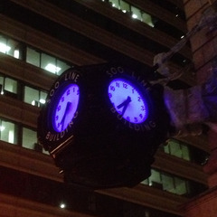 Soo Line building bracket clock with RGB LED Lights, Minneapolis MN