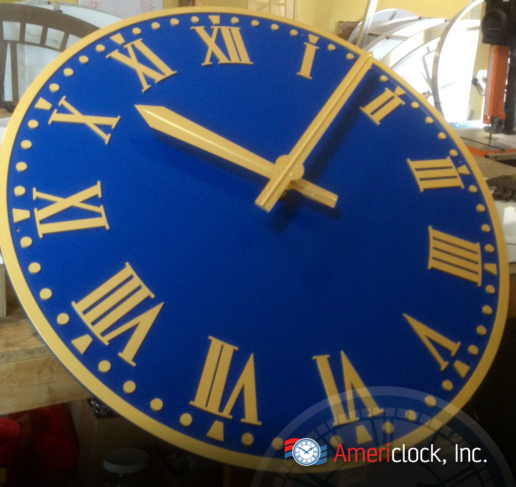 Wall clocks photo gallery americlock raised gold leaf numbers on a blue clock hotel clock nyc amipublicfo Image collections