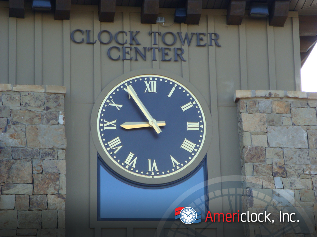 Custom wall clocks tower clocks americlock raised gold leaf roman numerals on a brown alumium clock in heber city ut outside salt lake city amipublicfo Gallery