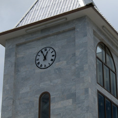 Clock on top of a church in Pago Pago American Samoa