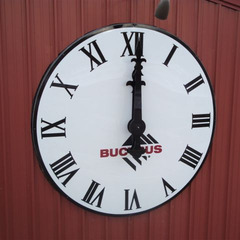 Large building clock with custom artwork