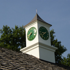 Gold on green cupola on golf course pro shop, Bellrieve Country Club, Town and Country MO