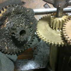 Before and after gear cleaning, Friends University clock tower, Wichita KS