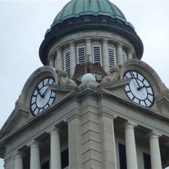 Winneshiek County IA courthouse restoration of glass clock dials, Decorah IA