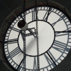 Whitman college clock restoration with new clock glazing, Walla Walla WA
