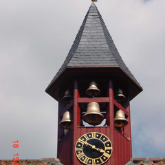 Church bells with clocks