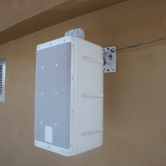 Small external weatherproof speaker for electronic bell system