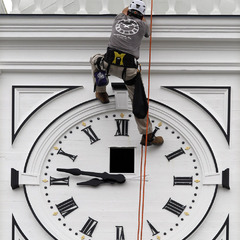 Rappelling to repair a tower clock, Kansas City MO