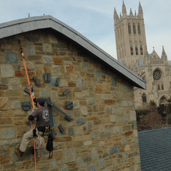 Rappelling to repair a tower clock, St. Albans School Washington DC
