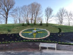 Floral clock installation in Kansas City, Missouri