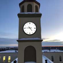 Dusk behind a clock tower